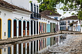 Flooded streets of Paraty with flood water from the sea, Paraty, Rio de Janeiro, Brazil, South America