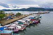 Aerial view of fishing boats on pier, Paraty, Rio de Janeiro, Brazil, South America