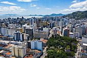 Aerial view of the Metropolitan Cathedral Cathedral of Florianopolis on November 15th with city skyscrapers, Florianopolis, Santa Catarina, Brazil, South America