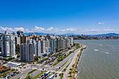 Aerial view of beach promenade and high-rise residential buildings, Florianopolis, Santa Catarina, Brazil, South America