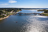 Aerial view of La Barra Bridge, Punta del Este, Maldonado Department, Uruguay, South America