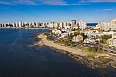 Aerial view of coastline and skyline, Punta del Este, Maldonado Department, Uruguay, South America