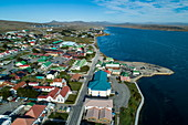 Aerial view of city center, Stanley, Falkland Islands, British Overseas Territory, South America