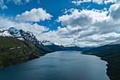 Aerial view of lake in Tierra del Fuego National Park, near Ushuaia, Tierra del Fuego, Patagonia, Argentina, South America