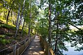 Hiking trail, Lac de Saint-Etienne-Cantalès, near Aurillac, Cantal department, Auvergne-Rhône-Alpes, France