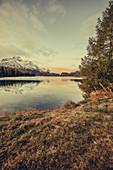 Sunrise on Lake Sils, Engadin, Grisons, Switzerland, Europe