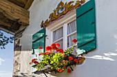 Historisches Haus mit Lüftlmalerei in Unterammergau, Oberbayern, Allgäu, Bayern, Deutschland