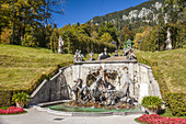Neptune fountain by Linderhof Palace, Ettal, Allgäu, Bavaria, Germany