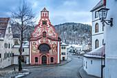 Heilig-Geist-Spitalkirche in the old town of Füssen, Allgäu, Bavaria, Germany