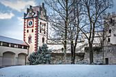 Clock tower of the High Castle in Füssen, Allgäu, Bavaria, Germany