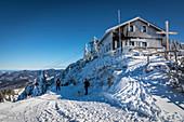 Mountain hut Tegelberghaus (1,707 m) in the Ammer Mountains, Schwangau, Allgäu, Bavaria, Germany