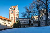 Uhrturm des Hohen Schlosses von Füssen, Allgäu, Bayern, Deutschland