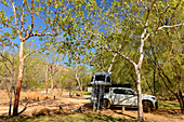 Off-road campers on a pitch in the outback, near Edith Falls, Northern Territory, Australia