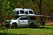 An off-road camper with a roof tent in the outback, Cooinda, Kakadu National Park, Northern Territory, Australia