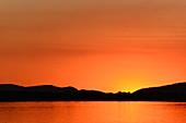Luminous twilight in the evening on the Ord River, Kununurra, Western Australia, Australia
