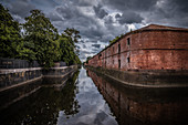 View of the moat around Kronstadt, Russia