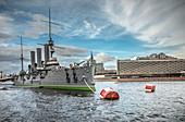 View of the armored cruiser Aurora, Saint Petersburg, Russia