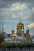 View of the Church of the Assumption of the Blessed Virgin Mary on Vasilievsky Island in Saint Petersburg, Russia