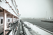 View of the port in Murmansk from the icebreaker Krassin, Russia