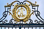 View of the logo of Elector Clemens August on Falkenlust Castle, Bruehl, North Rhine-Westphalia, Germany
