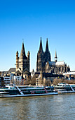 Cologne Cathedral and Great St. Martin from the Rhine, Cologne, North Rhine-Westphalia, Germany