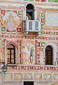 The frescoed facade of the castle of Spilimbergo, symbol of the city, in the province of Pordenone. Friuli Venezia Giulia Region. Italy