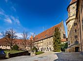 Carl-Eduard-Bau and stone kemenate in the inner courtyard of Veste Coburg, Coburg, Upper Franconia, Bavaria, Germany