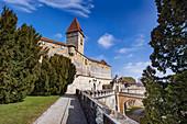 Entrance with Bulgarenturm of Veste Coburg, Coburg, Upper Franconia, Bavaria, Germany