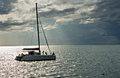 People on a sailing boat, Hervey Bay, Queensland, Australia,