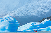 Kayaker paddles among icebergs, Torres del Paine National Park, Patagonia, Chile, South America