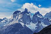 Blick auf die Hörner der Berge von Paine, Nationalpark Torres del Paine, Chile, Südamerika