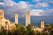 Cityscape with towers, San Gimignano, Tuscany, Italy, Europe