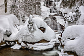Winter at the Rissbach, Bodenmais, Bavarian Forest, Bavaria, Germany, Europe