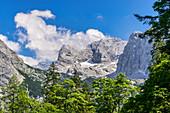 View of the Dachstein massif, Gosau, Gosauseen, Upper Austria, Austria, Europe