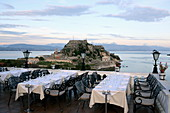 View from the roof terrace of the Hotel Cavaliere to the Old Venetian Fortress, Kerkira, Corfu Town, Corfu Island, Ionian Islands, Greece