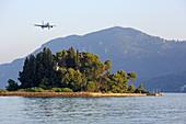 Mouse Island in front of the Kanoni district of the town of Kerkira, Corfu Town, on the Analipsi Peninsula, Corfu Island, Ionian Islands, Greece