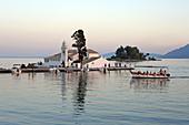 Vlacherna Monastery in the Kanoni district, Analipsi Peninsula, Kerkira, Corfu Town, Corfu Island, Ionian Islands, Greece