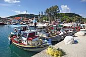 At the port of Petriti, on the east coast of the island of Corfu, Ionian Islands, Greece