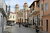 Main street in the place Lefkimi, Corfu Island, Ionian Islands, Greece