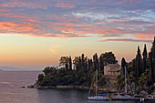 The small Agni Bay located on the northeast coast of the island of Corfu is a popular anchorage for sailors, Ionian Islands, Greece