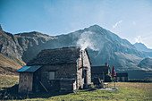 Old mountain village in the Swiss mountains, Berghaus, mountain range, Switzerland,