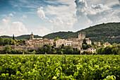 Montclus, one of the most beautiful villages in France, Les plus beaux villages de France, Gorges du Cèze, Gard department, Occitania, France
