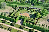 France, Eure, Le Neubourg, Chateau du Champ de Bataille, 17th century castle renovated by its owner, the interior designer Jacques Garcia, Mughal pavilion (aerial view)