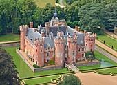 France, Eure et Loir, the castle of Villebon (aerial view)