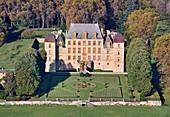 France, Ain, Fareins, the castle of Flecheres (aerial view)