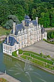 France, Eure, Chateau de Beaumesnil, castle with typical Louis XIII architecture, managed by Furstenberg Foundation (aerial view)