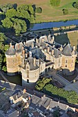France, Sarthe, Le Lude, castle of Le Lude, often mentioned as one of the castles of the Loire in the guide books (aerial view)