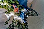 France, Charente-Maritime, Saintonge, Cote de Beaute, Gironde estuary, Meschers-sur-Gironde, cliffs and troglodyte dwellings (aerial view) (aerial view)