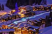 France, Savoie, Valmorel, Tarentaise valley, electric torchlight descent