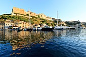 France, Corse du Sud, Freto, Bonifacio, port and the citadel